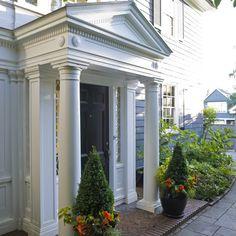 Click over here revised entrance porch design Porches, Porch Kits, Building A Porch, House Front Design, Exterior Trim, House With Porch, Architecture Details, Beautiful Homes, Decoration