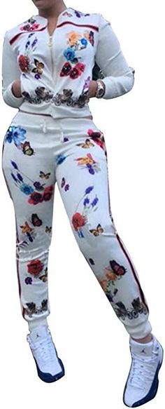 8252b47c14a Women s Floral Tracksuit Jacket and Pants 2 Piece Sports Joggers Jog Set  White M at Amazon