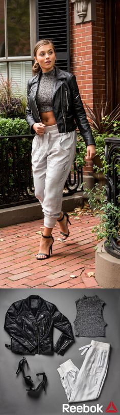 Sweatpants aren't just for the gym! Dress up jogger pants with simple heels for a night out. These shiny pants pair perfectly with a crop top and leather jacket.