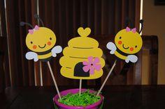 Bumble Bee Birthday Centerpiece Pink Bee by Trendycupcakeshop, $16.00