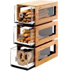 Rosseto® Three-Tier Bamboo Bakery Display Column With Clear Acrylic Drawers - Cool Kitchen Gadgets, Kitchen Items, Home Decor Kitchen, Cool Kitchens, Diy Home Decor, Bakery Display Case, Pastry Display, Bread Display, Wood Display