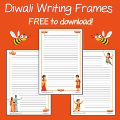 Download these FREE writing frames for your class to use during Diwali-related activities! There are three different designs, and each come as lined or unlined. Religious Education, Primary School, Diwali, Frames, Teaching, Activities, Writing, Children, Design