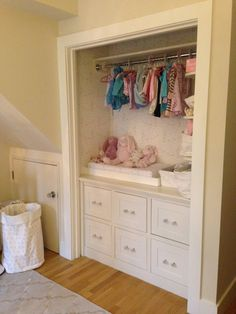 Nursery with built in changing table/storage