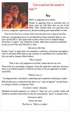"Christian Books :: ""FACTS: the Chapbook Series"" :: FACTS: Hell :: Can a Person be saved in Hell?"