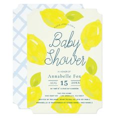 Hand Painted Lemon Blue Baby Shower Invitation Baby Shower Invitations For Boys, Bridal Shower Invitations, Birthday Invitations, Dinner Invitations, House Warming Party Invites, Do It Yourself Baby, Housewarming Party, How To Squeeze Lemons, Hand Painted