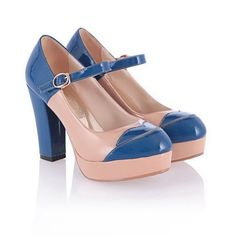 Pump Shoes, Flats, Chunky Heel Pumps, Patent Leather Pumps, Candy Colors, Stitching, Contrast, Platform, Toe