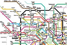Several years ago Information Architects released a map of the 200 most successful 2.0 websites in the style of the Tokyo Metro.