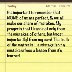 Learn from your mistakes.