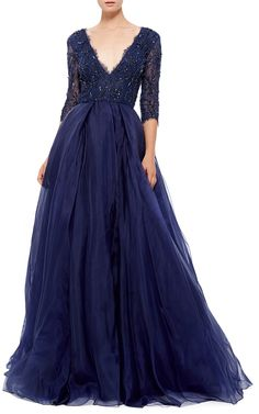 Monique Lhuillier Beaded Lace Ball Gown - Preorder now on Moda Operandi