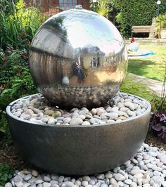 50cm Giant Eclipse Stainless Steel Sphere Water Feature      Specifications  Total Height 76cm (2ft 6ins) Bowl Diameter 72cm (2ft 4ins) Sphere Diameter 50cm (1ft 7½ins) 1x LED light ring with 4 leds Pump has an 8m mains cable        Features  Constructed fro