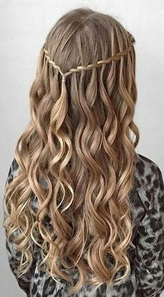 Curly hair with waterfall braid The Effective Pictures We Offer You About graduation hairstyles for long hair A quality picture can tell you many. Grad Hairstyles, Dance Hairstyles, Homecoming Hairstyles, Curled Hairstyles, Trendy Hairstyles, Wedding Hairstyles, Fashion Hairstyles, Country Hairstyles, Semi Formal Hairstyles