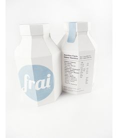 I have choseen this packaging of Frai Beverages a canadian student project because seeing theses products make think about the protection of the environnement : something eco-friendly. The bottle of by the way 100% recyclable. Moreover the carton of the bottle as a kind of old fashion attitude for me and the minimalist design( clear indications and componants, 2 colors) help to diferenciate to currents one. I think the clear and simple packaging speaks to itself.