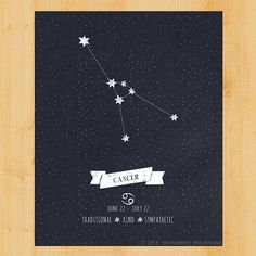 Cancer Constellation Poster  Instant by WoodlandMoonStudio on Etsy, $5.00