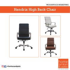 Shop the latest Hendrix High Back Chair by Woodstock! Available in three beautiful colors. -Hand polished aluminum base -Adjustable tilt tensions and locks -Leather Seating Surfaces -Memory Foam Seat From lobbies to executive offices, we have the perfect chairs and seating at the best price! #Homefurniture #Homefurnitureandpatio #HomeDecor #furnituredesign #Hendrixhighbackchair Home Office Furniture, Furniture Design, Executive Office Desk, Office Seating, High Back Chairs, Office Cabinets, Lobbies, Storage Cabinets, Woodstock