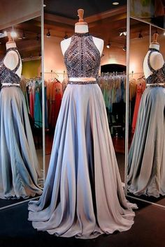 Floor Length Party Dresses,Evening Dress,Fashion Two Pieces Long Prom Dress, PL127