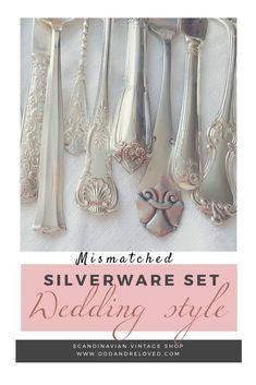 Vintage silverware set - Wedding Style, service for 4 up to 100. Get your unique OOAK set at ODD and Reloved on Etsy! #farmhouse decor #weddingideas #wedding #oddandreloved #vintagewedding