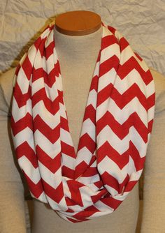 Crimson and Cream Oklahoma Chevron Jersey Knit Infinity Scarf on Etsy, $20.00