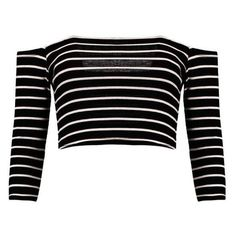Boohoo Andrea Striped Off The Shoulder Rib Crop Top ❤ liked on Polyvore featuring tops, off the shoulder tops, ribbed off the shoulder top, bralette crop top, striped crop top and off the shoulder crop top