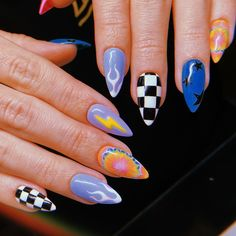 80 cute short nail art design ideas you can copy in 2020 summer 12 Edgy Nails, Aycrlic Nails, Grunge Nails, Stylish Nails, Swag Nails, Manicures, Summer Acrylic Nails, Best Acrylic Nails, Acrylic Nail Designs