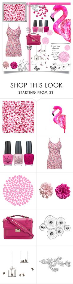 """""""Flamingo Pink"""" by alongcametwiggy ❤ liked on Polyvore featuring OPI, H&M, Valentino, Polaroid, Percival and ferm LIVING"""
