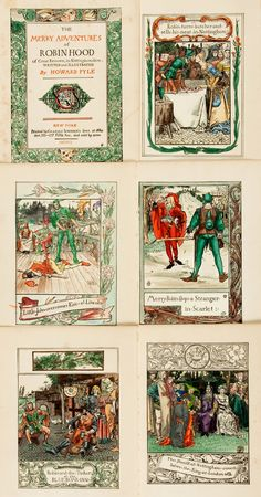 Howard Pyle. Plates Taken from The Merry Adventures of Robin Hood, Many with Hand Coloring. Taken from the 1909 edition.