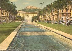 1963 – Napoli- Fontane di piazza Municipio - cartolina, fontana, monumento, panorama, square