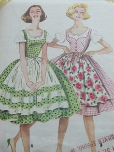 Oh how I yearn for a copy of this fantastic 1950s dirndl dress pattern! #vintage #1950s #sewing #pattern #dirndl #dress #folk #costume #German #clothing
