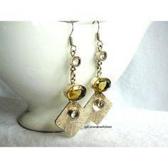 Earrings Handmade Golden Citrine Gems Light Lavender Quartz Dangle and... ($25) ❤ liked on Polyvore featuring jewelry, earrings, quartz jewelry, quartz earrings, lavender earrings, earring jewelry and gemstone earrings