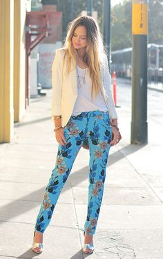 summer fashion 2014 | how-to-style-printed-pants-summer-2014-white