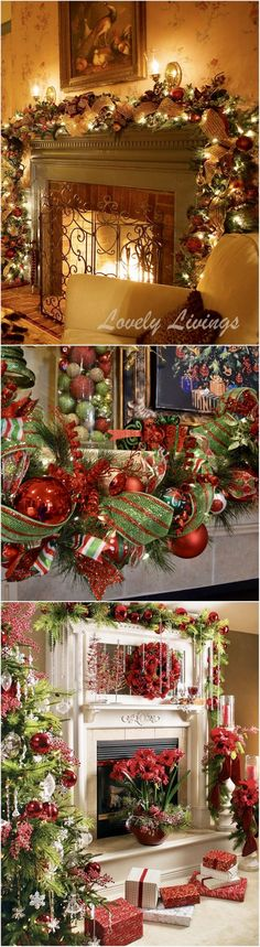 Christmas fireplace and mantle decorating ideas
