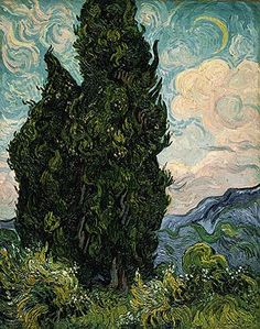 artists paintings claude monet Cypresses by Vincent van Gogh - Famous Art - Handmade Oil Painting on Canvas — Canvas Paintings Paul Gauguin, Van Gogh Arte, Van Gogh Pinturas, Van Gogh Paintings, Art Van, Fine Art, Henri Matisse, Claude Monet, Renoir