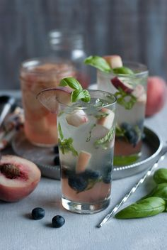 White Peach Basil and Blueberry Mojto
