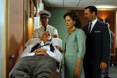 """Roger and Mona (Talia Balsam) Sterling with Don following Roger's heart attack in Season 1, Ep. 11, """"Indian Summer"""""""