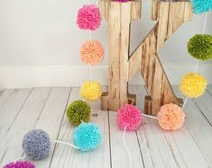 Curated Gifts They'll Keep Forever by YalisAndYabosCrochet on Etsy Pom Pom Garland, Tassel Garland, Garlands, Birthday Bunting, 2nd Birthday, Birthday Ideas, Rainbow Nursery, Cheap Toys, Diy Kits