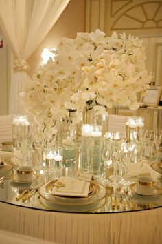 Great Events, Grand Orchid Centerpiece, Mirror Tabletops, Gold Place Settings. Mirror  Table Top