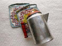 Vintage Children's Aluminum Coffee Pot and pot holders