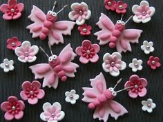 Butterfly and flower cupcake toppers - any colour