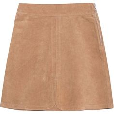 SEE BY CHLOÉ Jupe Tabacco // Leather skirt (6.925.325 IDR) ❤ liked on Polyvore featuring skirts, mini skirts, bottoms, saias, short mini skirts, short skirts, high-waist skirt, leather skirt and high waisted flare skirt