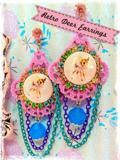 Retro Deer Earrings from today's blog post on Insanely Sweet Jewelry <3 #kawaii #kitsch #pastel #handmade #retro