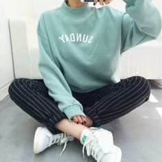Mint Sweater and Adidas Stan Smith Sneakers
