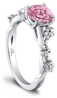jeff cooper's glorious engagement ring with flower motifs and pink diamond.