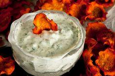 Jalapeño-Cilantro Yogurt Spread. I use Quorn chicken tenders to make a veggie chicken salad. YUM.