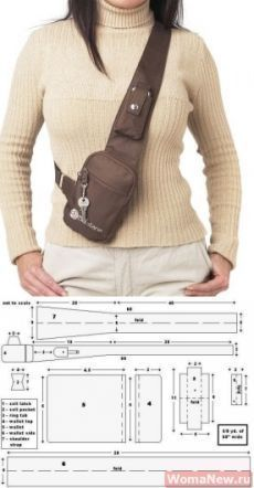 Bag pattern through a shoulder Leather Bags Handmade, Handmade Bags, Fanny Pack Pattern, Leather Bag Pattern, Hip Bag, Denim Bag, Leather Projects, Diy Clothes, Bag Making