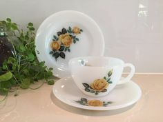 Phoenixware Milk Glass Trio - cup saucer and plate - yellow rose design
