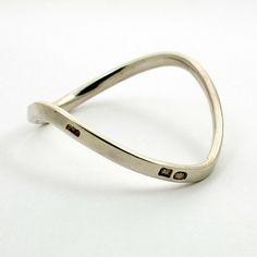 Vintage English Sterling Silver Wavy Bangle Bracelet by mybooms
