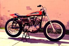 This all-original Harley-Davidson Flat Tracker was originally owned by AMA racer Davey Camlin, he used it as his primary race bike as an amateur. Flat Track Motorcycle, Flat Track Racing, Tracker Motorcycle, Motorcycle Garage, Harley Davidson Street, Harley Davidson Motorcycles, Vintage Bikes, Vintage Motorcycles, Speedway Motorcycles