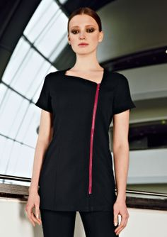 Key Features Polyester Hardwearing & durable Chunky feature zip with matching zip pull Asymmetrical neckline Cap sleeves with notch detail Side pockets Salon Uniform, Spa Uniform, Scrubs Uniform, Dental Uniforms, Work Uniforms, Housekeeping Uniform, Stylish Scrubs, Suits For Women, Clothes For Women