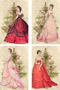 Vintage inspired Christmas ball gowns ladies scrapbooking crafts 8 w/envelopes Victorian Christmas, Vintage Christmas Cards, Retro Christmas, Christmas Love, Christmas Pictures, Vintage Prints, Vintage Art, Decoupage Vintage, Vintage Girls