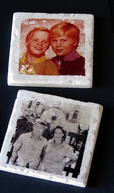 This would be a fun project to make for Christmas presents (or with some Instagrams)  DIY photo transfer coasters