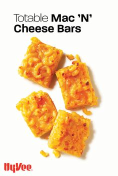 Say yes, please, to mac n cheese! Perfect for tucking into kid lunches or work lunches, these portable mac and cheese bars are a tasty option for any meal. See how easy this 4-ingredient recipe is to make and find everything you need at Hy-Vee.com.